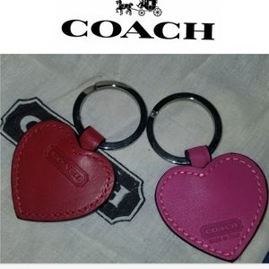 Coach leather heart key fob NWOT PINK
